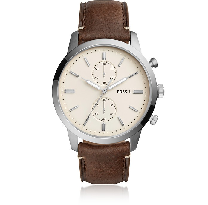 Townsman 44mm Chronograph Brown Leather and Cream Dial Men's Watch - Fossil