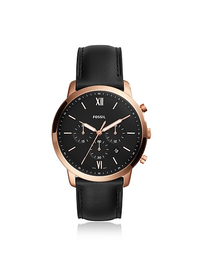 Neutra Chronograph Black Leather and Rose Gold Men's Watch - Fossil