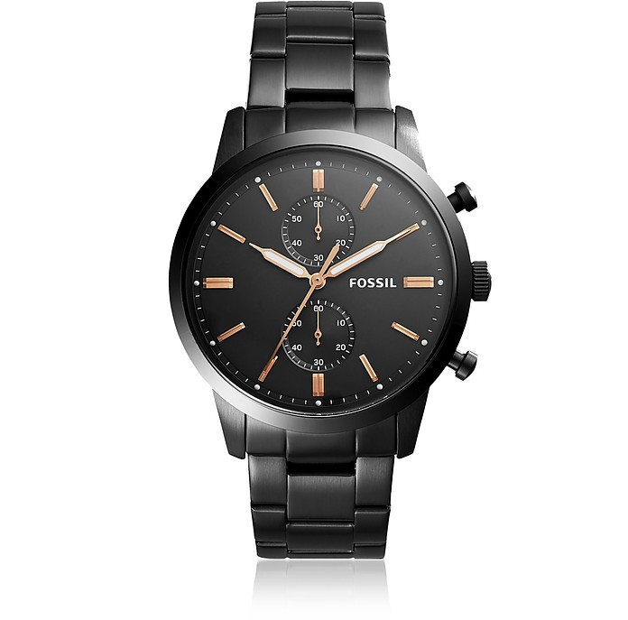 Townsman 44mm Chronograph Black Stainless Steel Men's Watch - Fossil