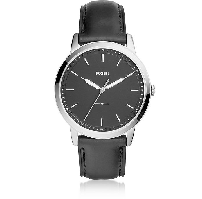 The Minimalist Three-Hand Black Leather Watch - Fossil