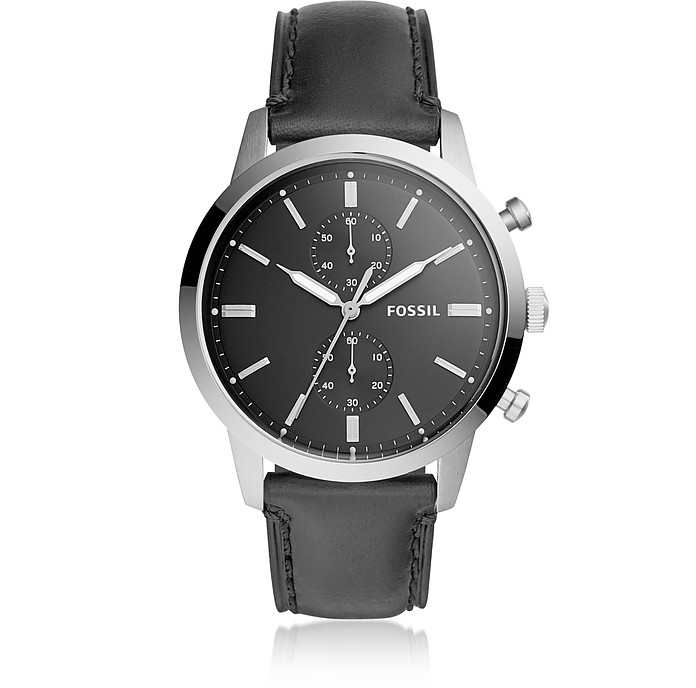 44mm Townsman Chronograph Black Leather Watch - Fossil