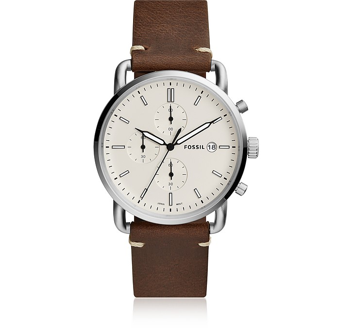 The Commuter Chronograph Brown Leather and Cream Dial Men's Watch - Fossil