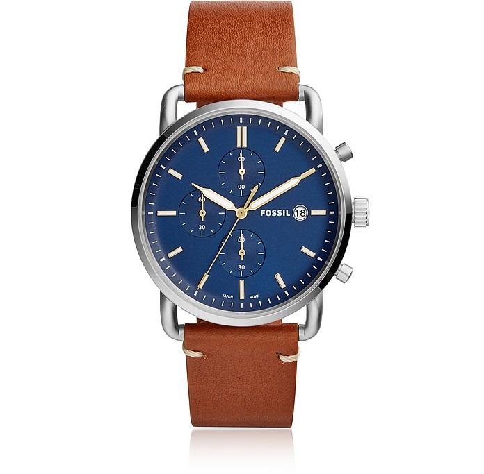 The Commuter Chronograph Light Brown Leather Watch - Fossil