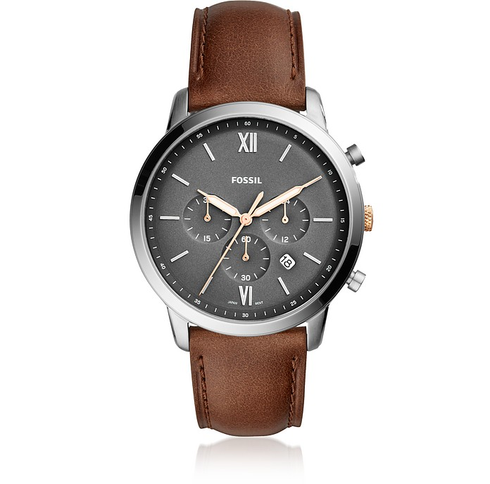 Neutra Chronograph Light Brown Leather Watch - Fossil