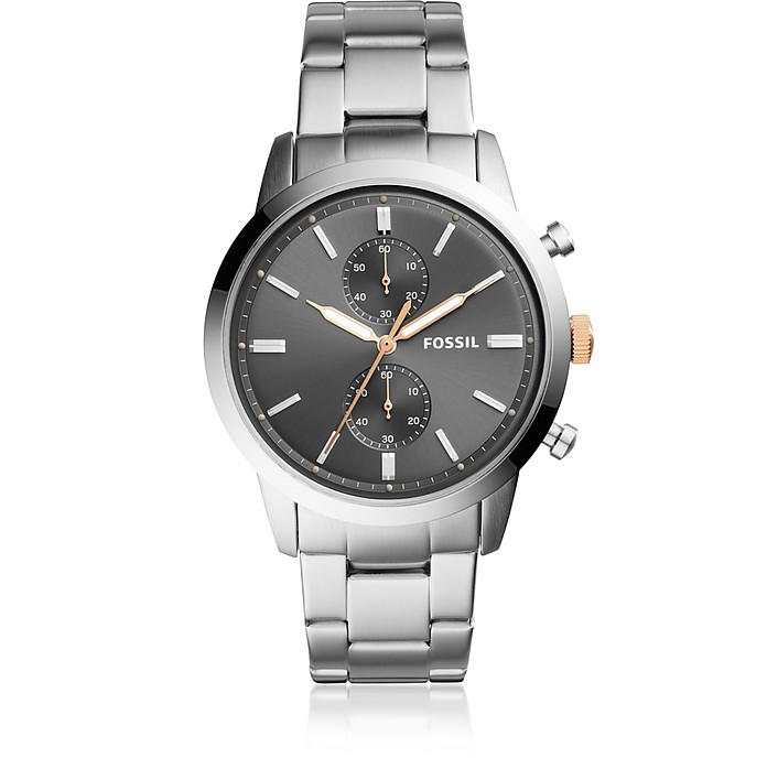 Townsman 44mm Chronograph Stainless Steel Men's Watch - Fossil