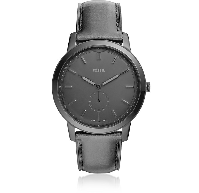 The Minimalist Two-Hand Black Leather Men's Watch - Fossil