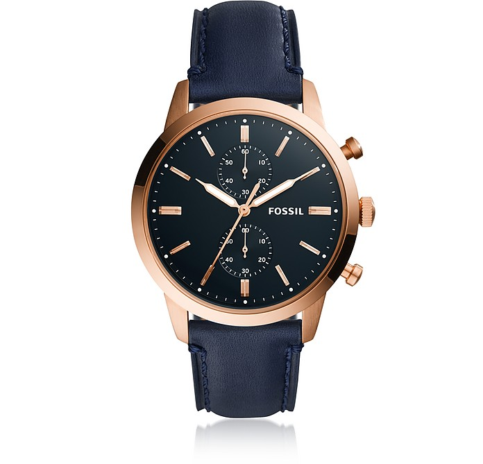 Townsman 44mm Chronograph Navy Leather and Rose Gold Men's Watch - Fossil
