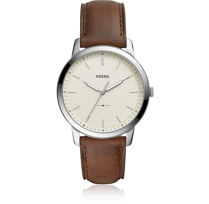 The Minimalist Three-Hand Brown Leather and Cream Dial Men's Watch - Fossil