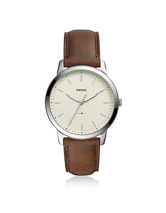 31990837852fa The Minimalist Three-Hand Brown Leather and Cream Dial Men's Watch - Fossil