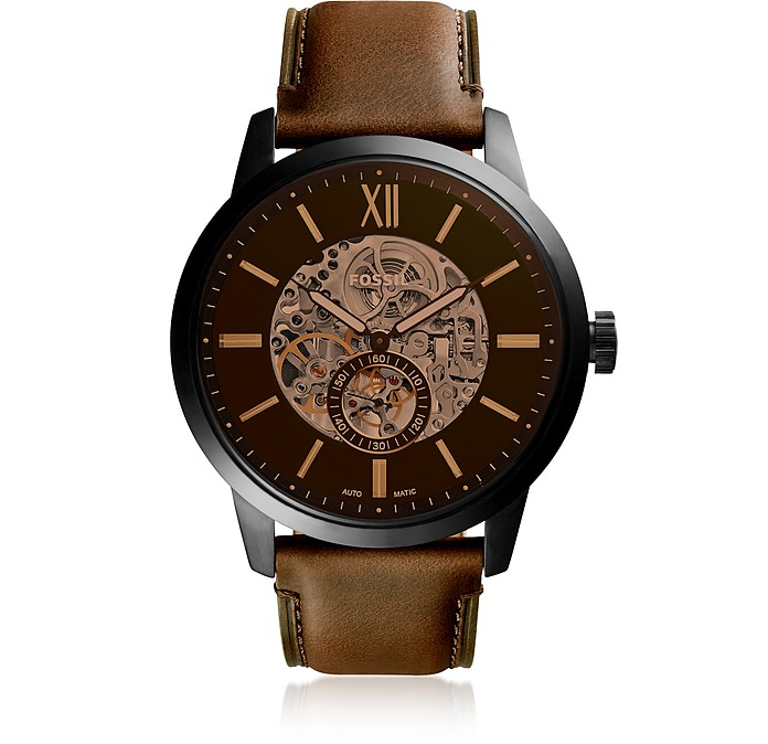 Townsman 48mm Automatic Brown Leather Men's Watch - Fossil