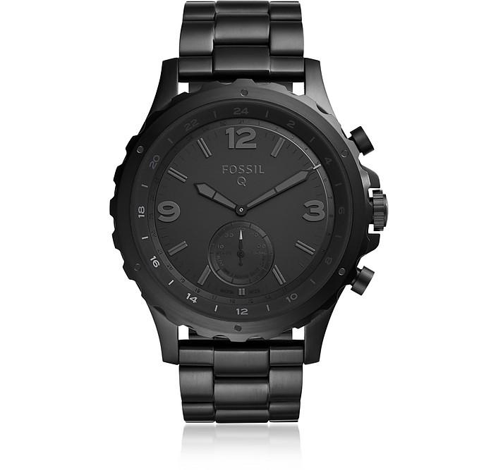 Q Nate Black Stainless Steel Men's Hybrid Smartwatch - Fossil