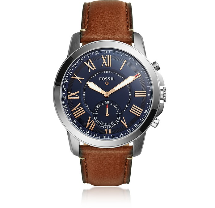 Q Grant Light Brown Leather Men's Hybrid Smartwatch - Fossil