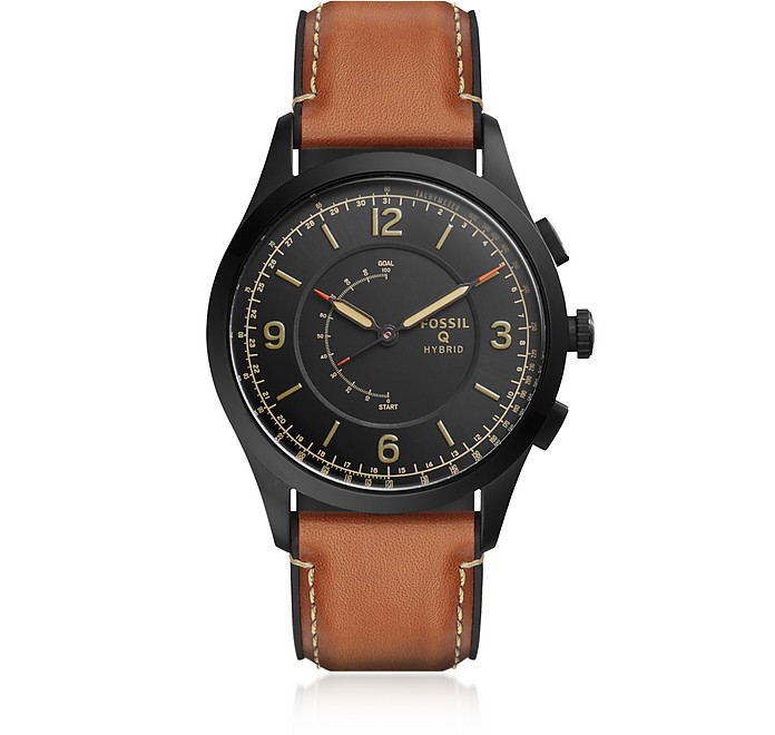 Q Activist Luggage Leather Men's Hybrid Smartwatch - Fossil