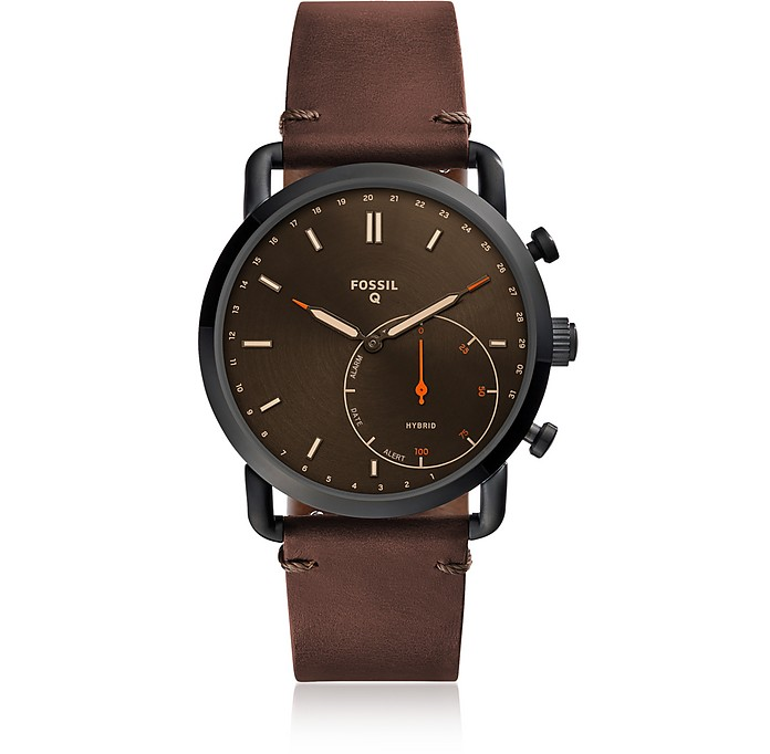 Q Commuter Dark Brown Leather Hybrid Men's Smartwatch - Fossil