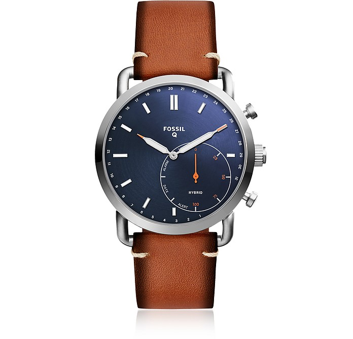 Q Commuter Luggage Leather Men's Hybrid Smartwatch - Fossil