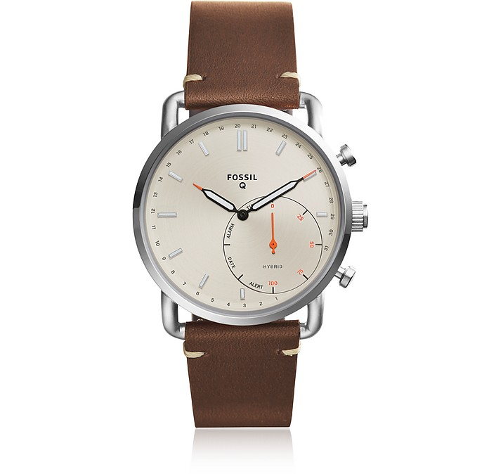 Q Commuter Dark Brown Leather and Cream Dial Men's Smartwatch - Fossil