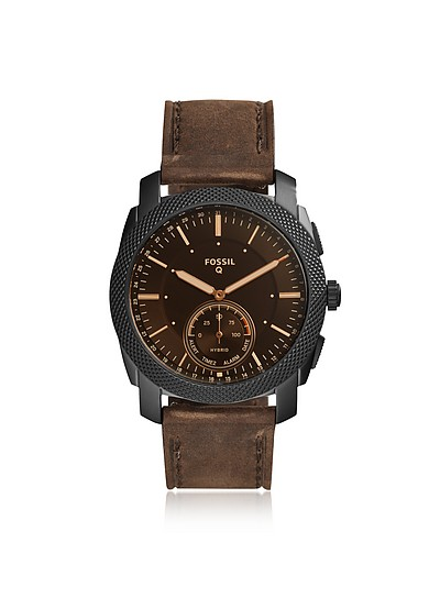 Q Machine Dark Brown Leather Men's Hybrid Smartwatch - Fossil