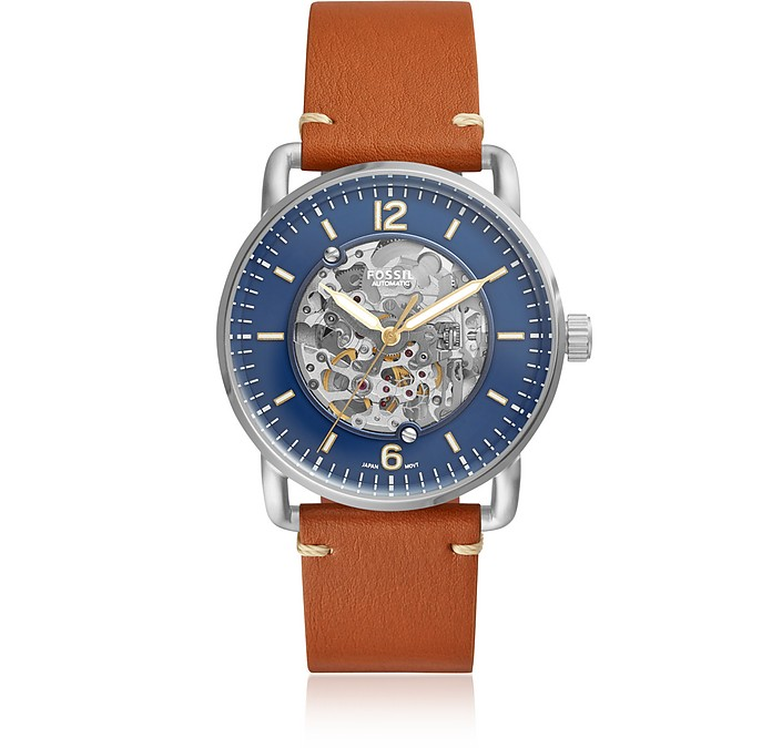 Commuter Automatic Luggage Leather Men's Watch - Fossil