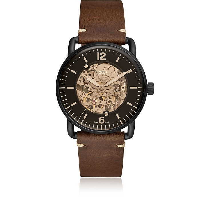 Commuter Automatic Brown Leather Men's Watch - Fossil