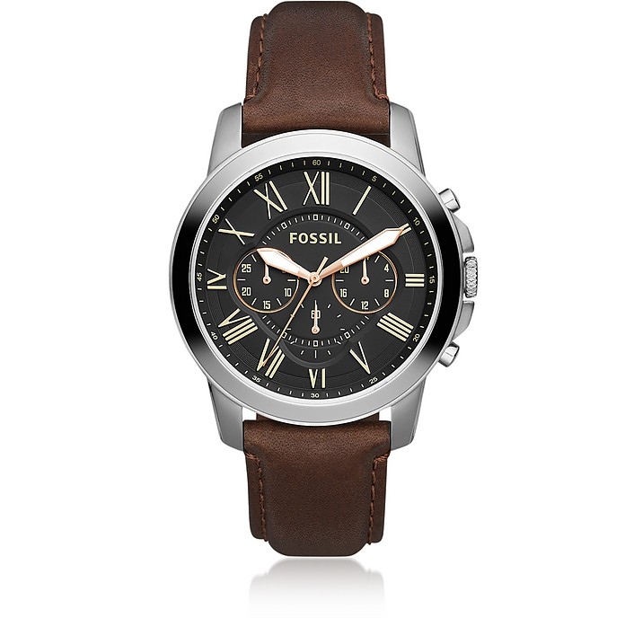 Grant Chronograph Black/Brown Leather Watch - Fossil