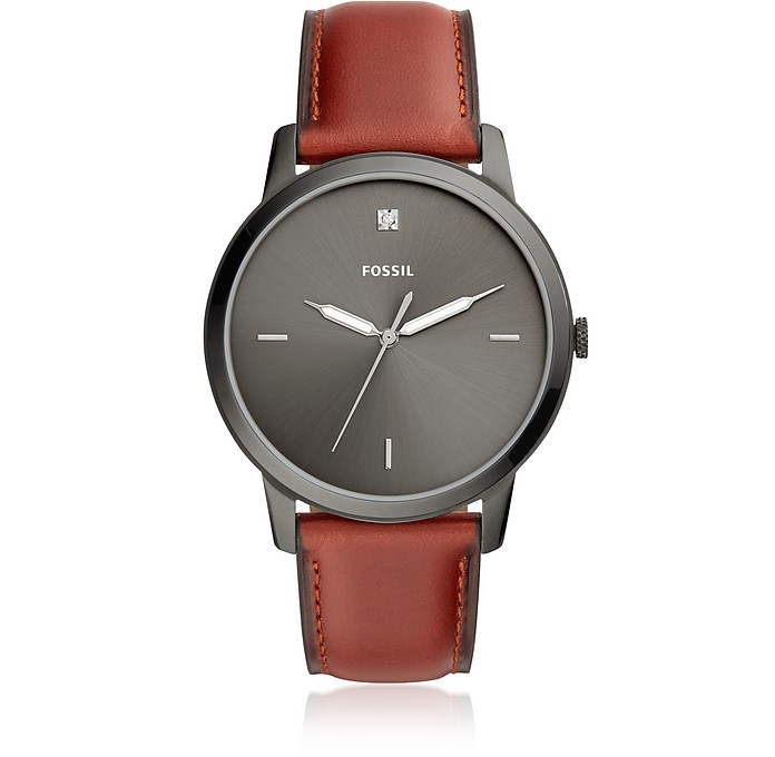 The Minimalist Carbon Series Three-Hand Smokey Amber Leather Watch - Fossil