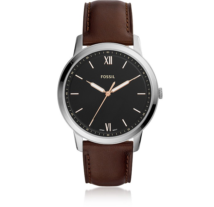 The Minimalist Three-Hand Brown Leather Watch - Fossil