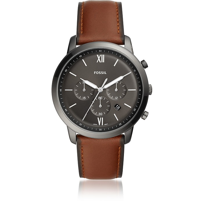 Neutra Chronograph Vintage Brown Leather Watch - Fossil