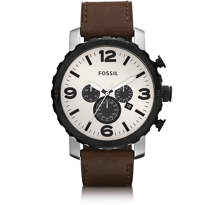 Nate Chronograph Brown Leather Men's Watch  - Fossil