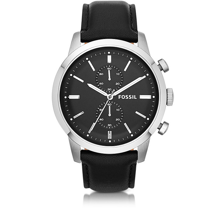 Townsman Chronograph Black Leather Men's Watch - Fossil