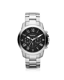 Grant Chronograph Silver Stainless Steel Men's Watch  - Fossil
