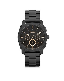 Machine Chronograph Black Stainless Steel Men's Watch - Fossil