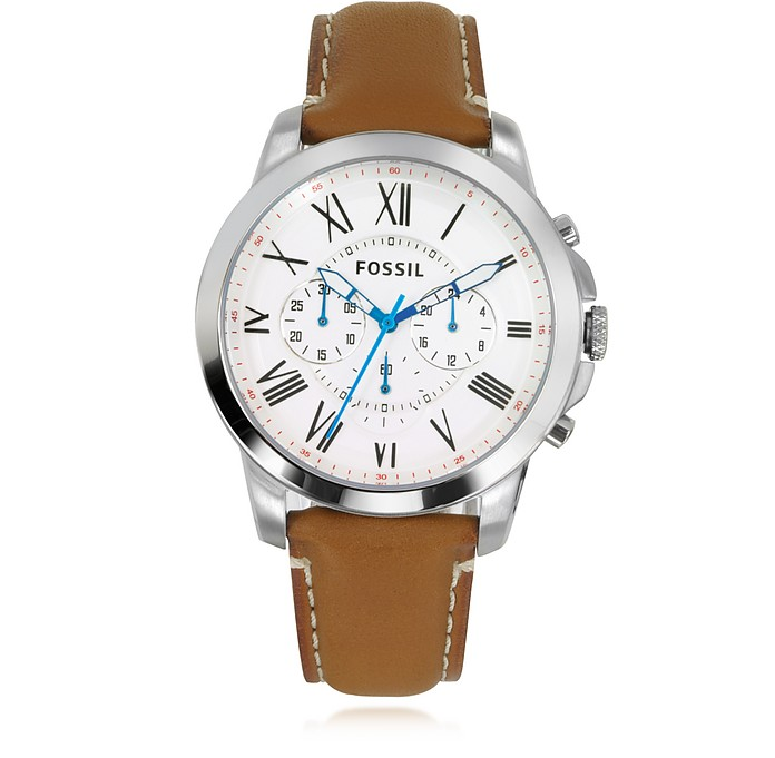 Grant Chronograph Tan Leather Men's Watch - Fossil