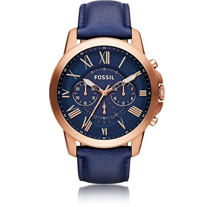 77e52c77843d Grant Chronograph Rose Gold Tone Stainless Steel Case and Navy Blue Leather  Strap Men s Watch -