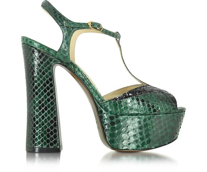 789988d5fc680 Emerald Green Embossed Croco Leather and Glitter Platform Sandal - L Autre  Chose
