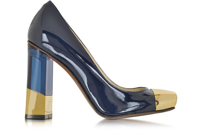 Blue and Gold Patent Leather Pump - L'Autre Chose