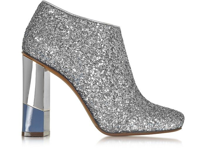 Glitter Leather Low Boot w/Aviator & Silver Heel - L'Autre Chose