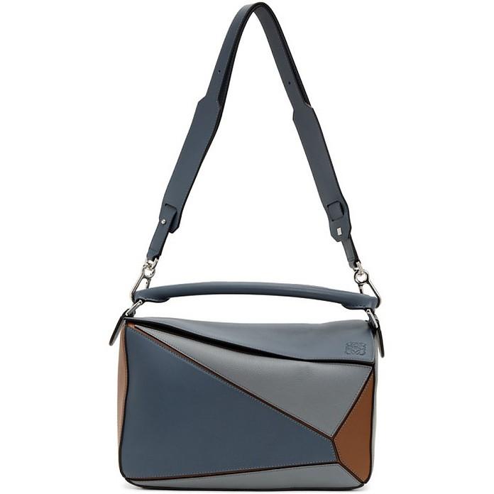 Blue and Tan Large Puzzle Bag - Loewe