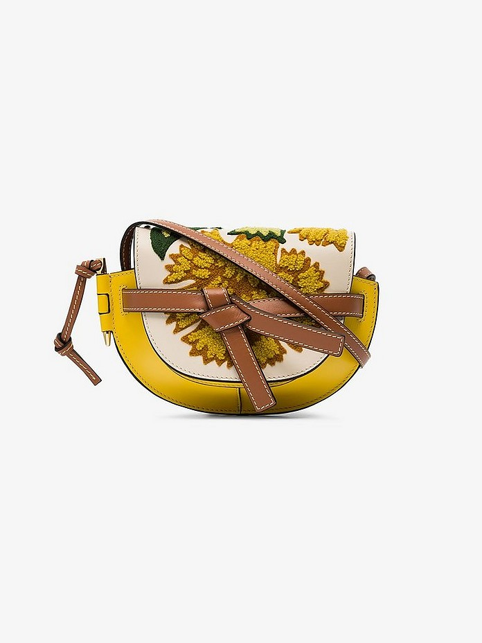 Yellow Gate embroidered mini leather shoulder bag - Loewe