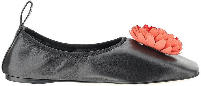 Smooth Black Leather Ballet Flats - Loewe