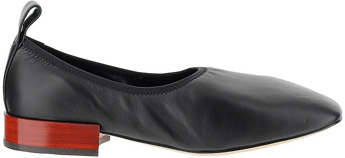 Black Leather Ballet Flats w/Square toe  - Loewe