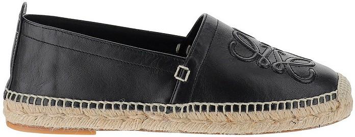 Black Leather Espadrilles  - Loewe