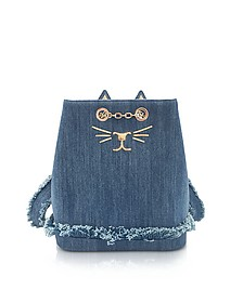 Medium Denim Petit Feline Backpack - Charlotte Olympia