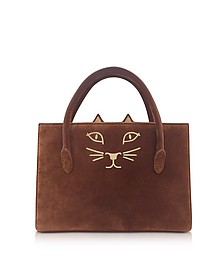 Tan Suede and Natural Linen Feline Petit Poitier Tote Bag - Charlotte Olympia