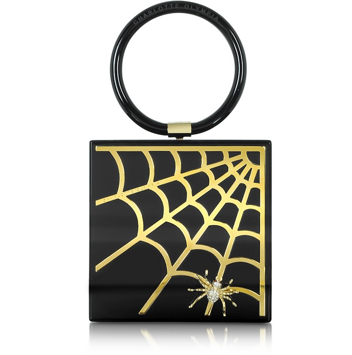 Black Perspex and Brass Web Clutch - Charlotte Olympia
