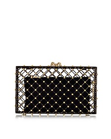 Linear Pandora Black and Gold Clutch