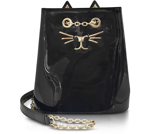 Feline Black Patent Leather Bucket Bag - Charlotte Olympia