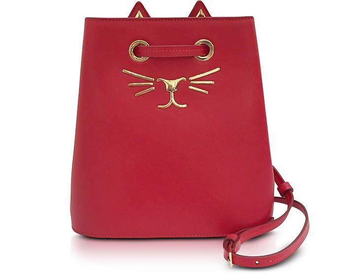 Feline Red Leather Bucket Bag - Charlotte Olympia