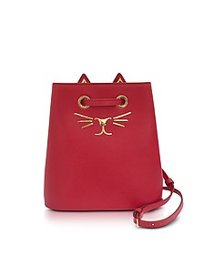 Feline Red Leather Bucket Bag - Charlotte Olympia