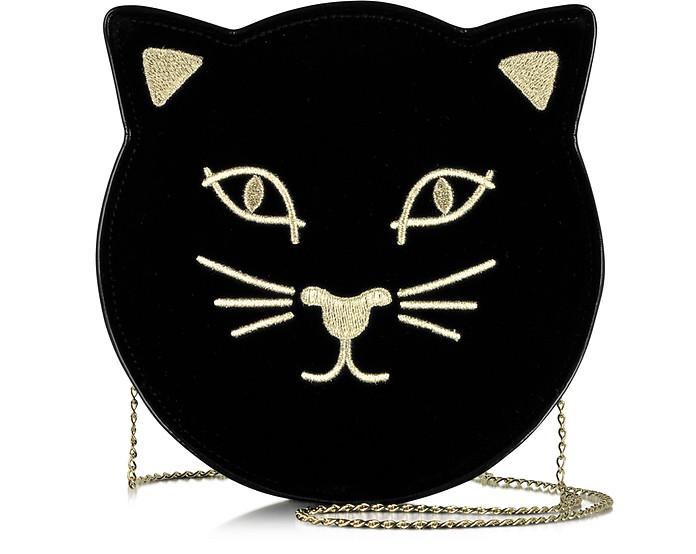 Pussycat Black Velvet Purse - Charlotte Olympia