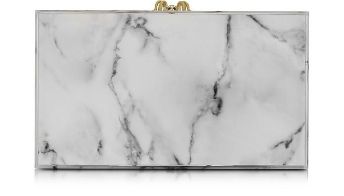 White Marble Printed Pandora Clutch - Charlotte Olympia